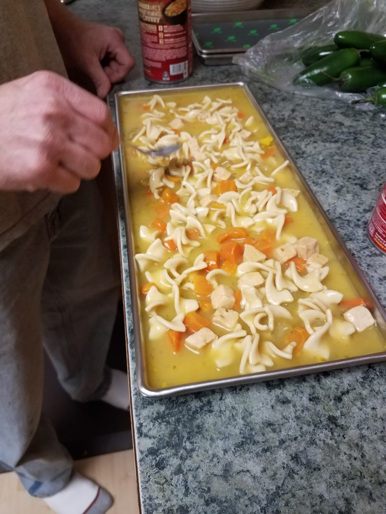 Chicken Noodle Soup ready to go into the freezer for freeze drying.